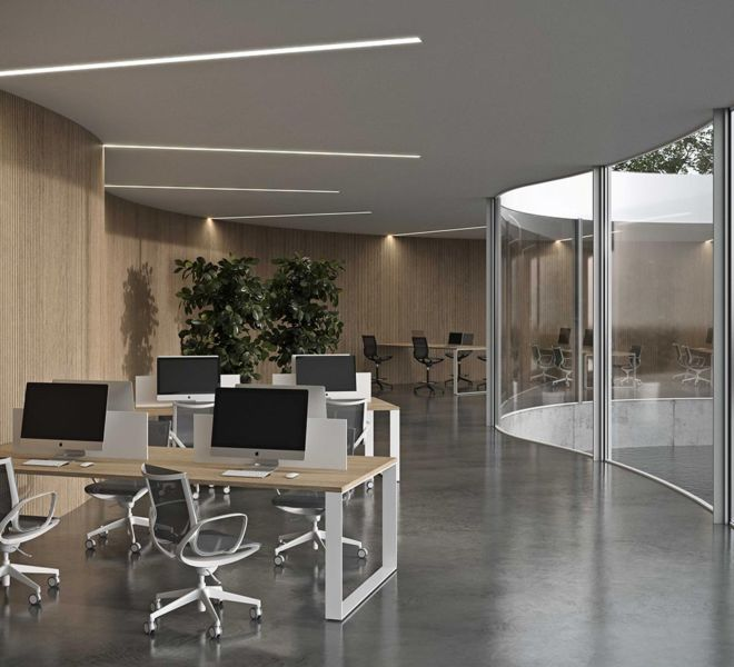 bureaustoel bureautafels kantoormeubilair mesh rugleuning O-vormig frame werkblad eik