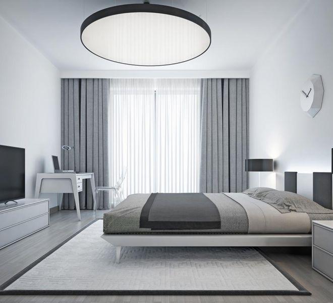 raamdecoratie -grijze slaapkamer