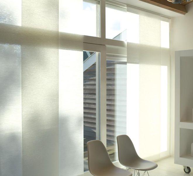 paneelgordijn lichtdoorlatend verticale zonwering transparant 6 Japanse panelen 3 sporen