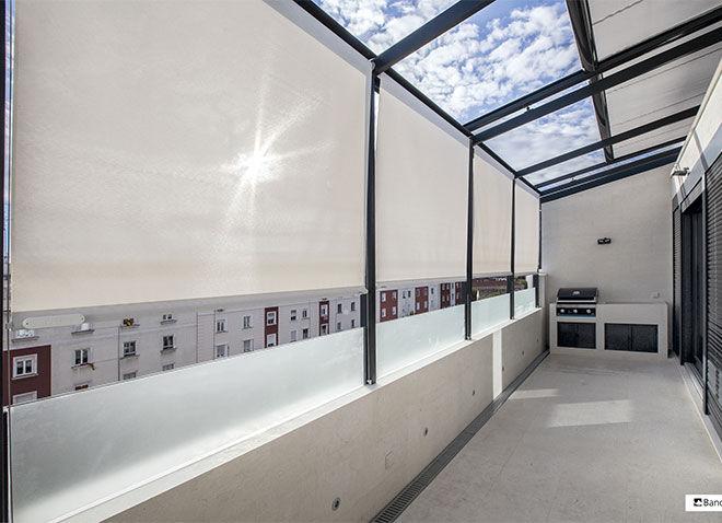 screen veranda zonwering polyscreen met kabelgeleiding dakscreen elektrische bediening